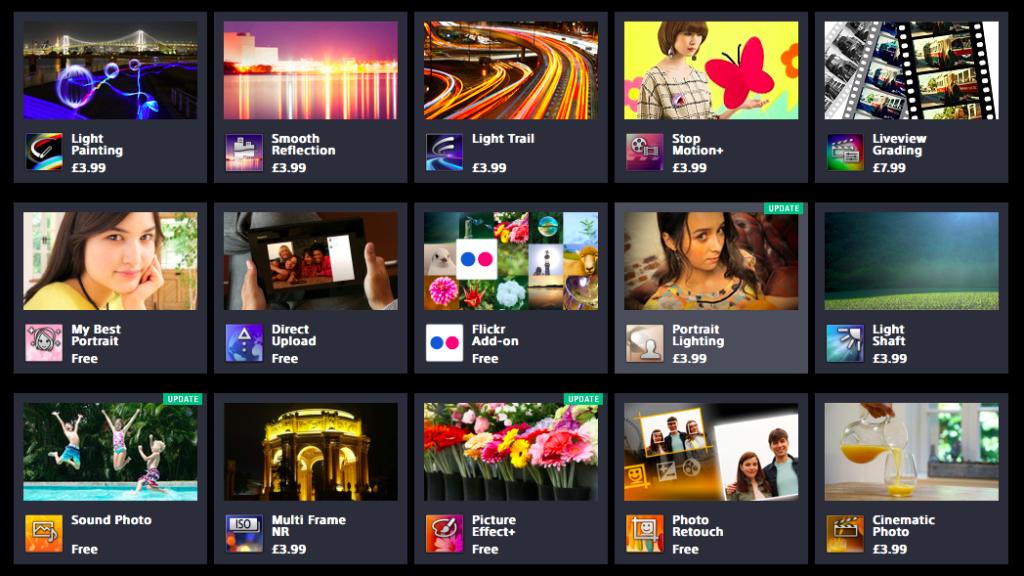 Sony PlayMemories App store