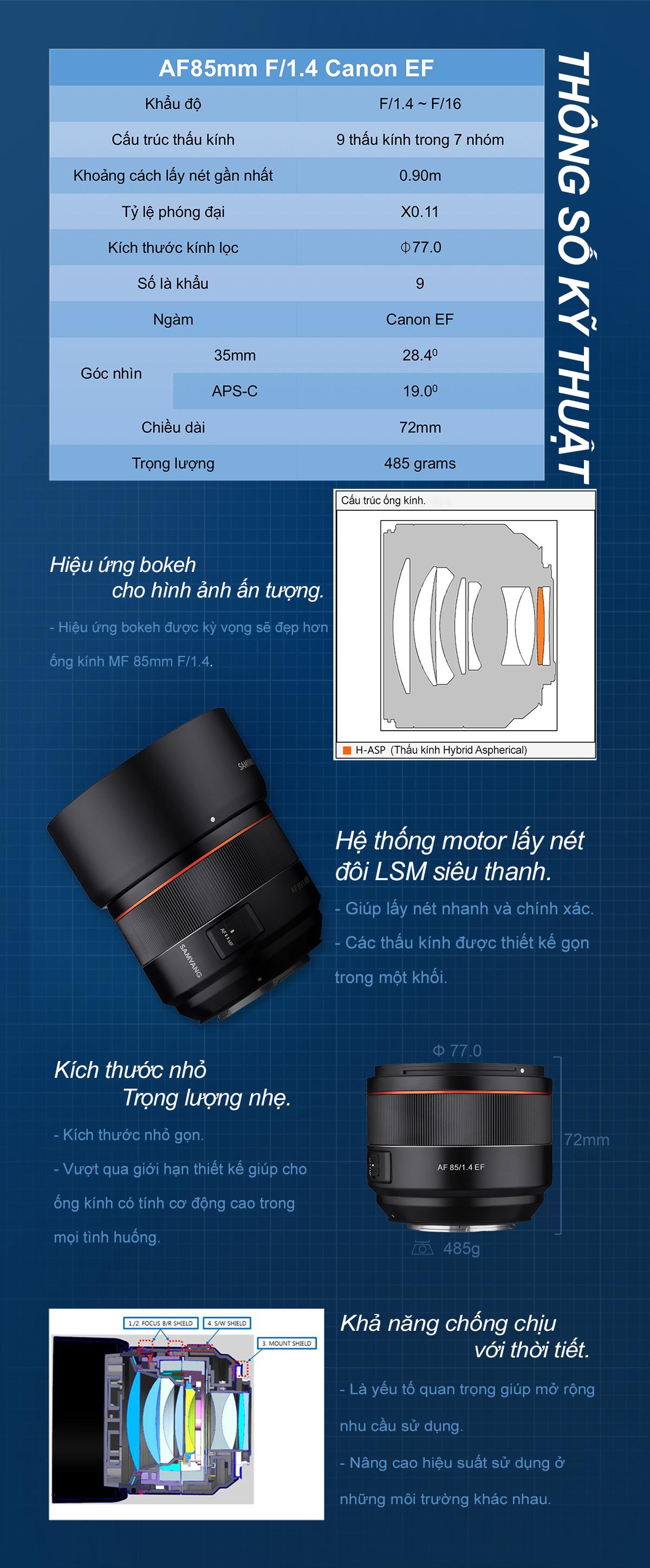 Samyang AF 85mm f/1.4 EF for Canon EF
