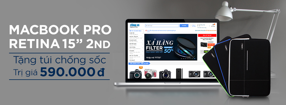 Macbook Pro Retina 15inch 2nd tặng túi chống sốc trị giá 590.000 VNĐ