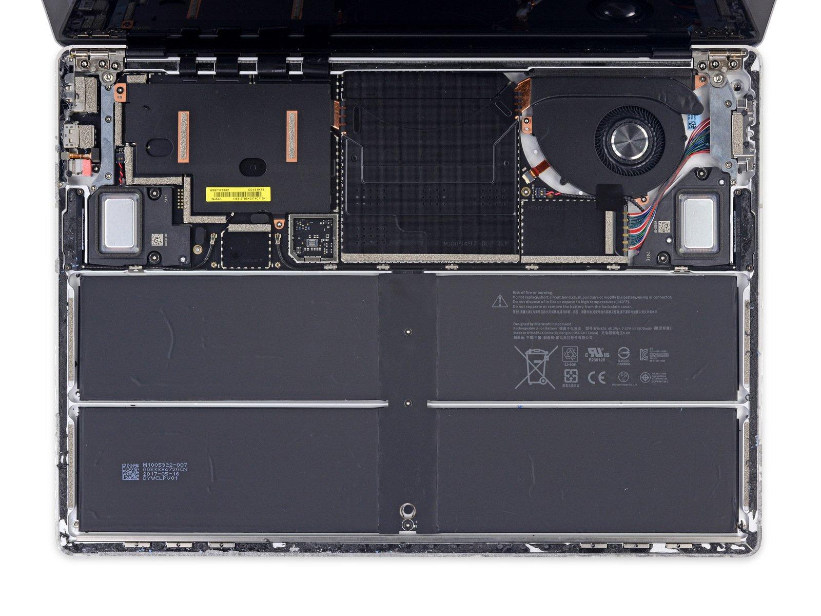 Bên trong Surface Laptop: phải cắt vải, CPU, RAM, SSD hàn chết, 0 điểm iFixit!