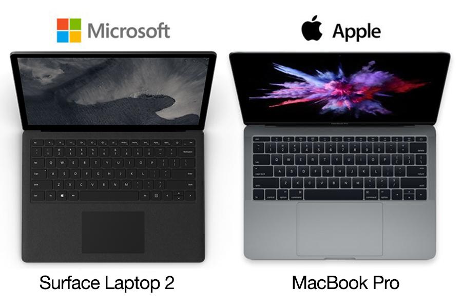 So sánh Surface Laptop 2 vs MacBook Pro