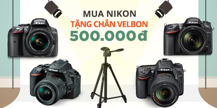 Mua Nikon Tang chan may velbon